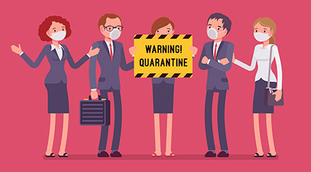 Office quarantine warning. Team of workers in masks with note of isolation, danger of infectious, contagious disease, stop working to prevent spread of virus