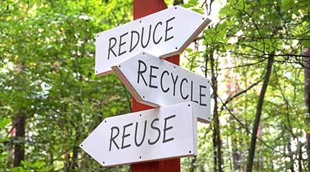 Signpost with three arrows - reduce, recycle, reuse concept