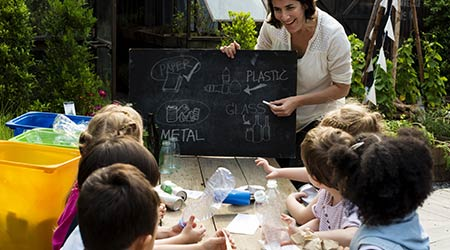 Group of Children learn about recycling and sustainability on Field Trip