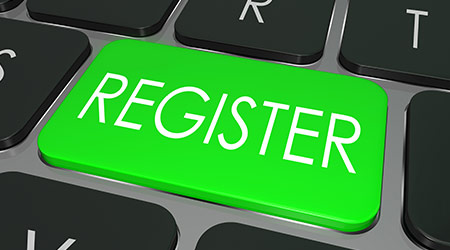 Register on a green computer keyboard key to illustrate e-commerce or signing up entering to join a new website