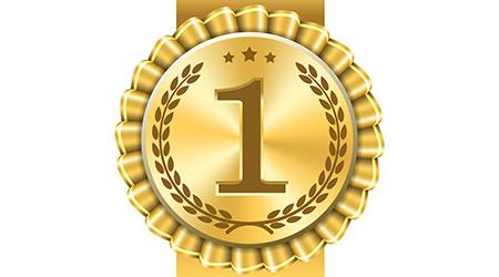 Award ribbon gold icon number first. Design winner golden medal 1 prize