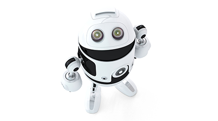 Android robot look up. Isolated on white background