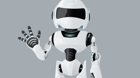 Vector realistic illustration of the white robot. One hand up