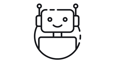 Bot icon. Chatbot icon concept. Cute smiling robot. Vector modern line character illustration isolated on white background.