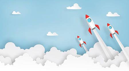 paper art of space rocket launch to the sky in startup concept of business or project