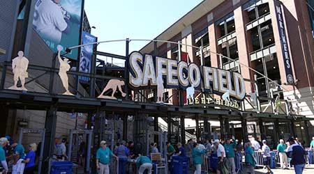 People enter into Left Field Gate to Safeco Field in Seattle. Home of the Seattle Mariners