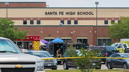 Multiple Local, State and Federal Law Enforcement Agencies Processing Active Crime Scene Following A Shooting at a Santa Fe High School
