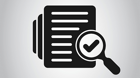 Audit document icon in flat style