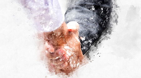 Abstract Business handshake on watercolor painting background