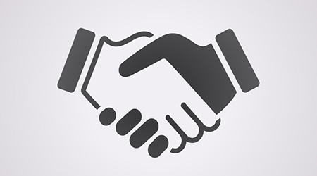 Black and white vector image of two people shaking hands