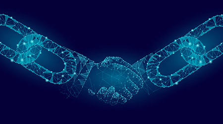 Blockchain technology agreement handshake business concept