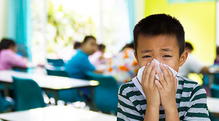 kid with the tissue, he got a cold. Most infections come from the school