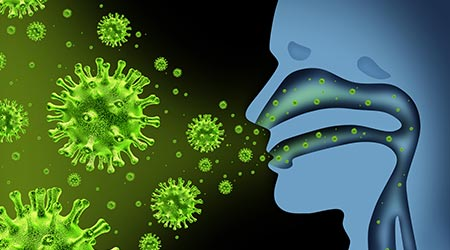 Flu virus spread caused by influenza with human symptoms of fever infecting the nose and throat as deadly microscopic microbe cells with 3d illustration elements