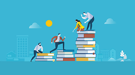 Flat design style web banner for the path to success, levels of education, staff training, specialization, learning support.