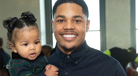 Sterling Shepard and his daughter Cali Clay Shepard attend Christian Siriano New York fashion week Fall/Winter 2019 collection at Top of the Rock Rockefeller Center