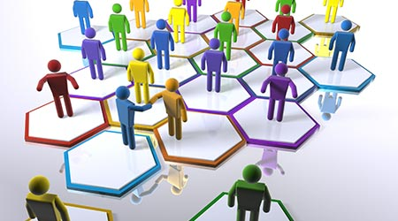 Colored stick people on hexagons