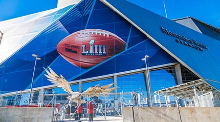 Superbowl LIII will be played at Atlanta's Mercedes-Benz Stadium on Sunday, February 3, 2019 against the New England Patriots and the Los Angeles Rams
