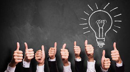 many thumbs up liking an idea