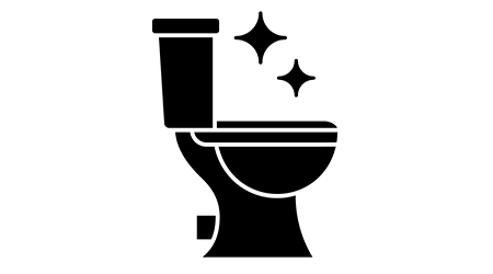 Toilet cleaning glyph icon. Silhouette symbol. Bathroom cleaning. Negative space. Vector isolated illustration