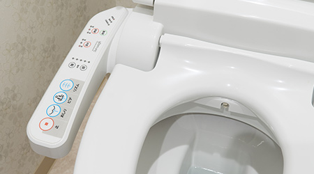 Modern high tech toilet with electronic bidet in Japan