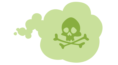Green cloud with skull and crossbones