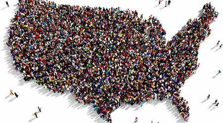 Large group of people seen from above gathered together in the shape of United States of America map