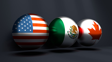 United States Mexico Canada Agreement. 3D rendering. National flags on spheres. Trade union. Global teamwork. 3D rendering