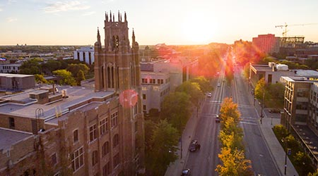 Drone view of Marquette University
