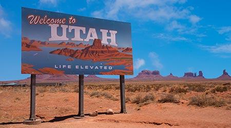 Road sign for Utah