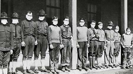 Medical men wore masks to avoid the flu at U.S. Army hospital on Nov. 19, 1918