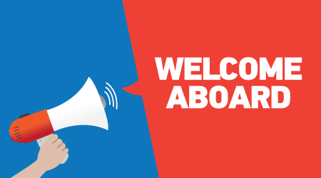Hand Holding Megaphone with WELCOME ABOARD Announcement