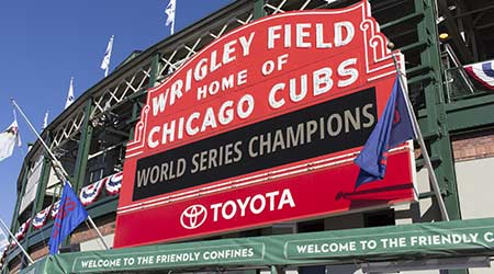 World Series Champions Sign at Wrigley Field, a day after the Cubs win the world series