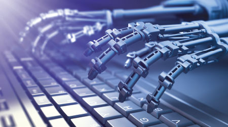 Robot hands typing