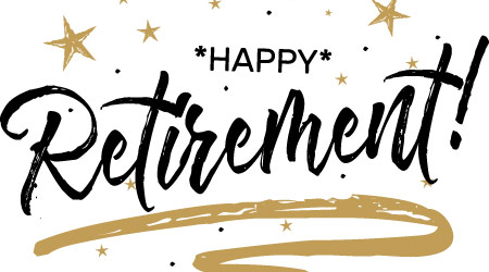 "A banner reading ""Happy Retirement!"" in black lettering with gold stars surrounding the text"
