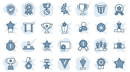 A vector image displaying different types of awards