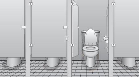 Vector image of four restroom stalls, one of which has its door open