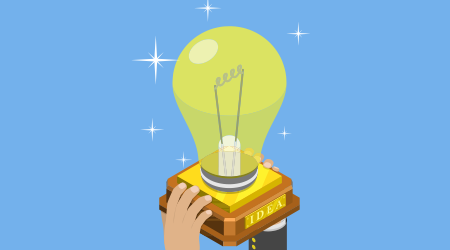 A vector image of a person holding up a light bulb to suggest innovation