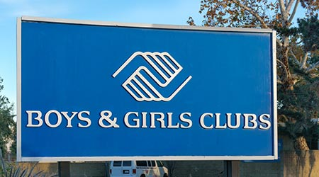 PASADENA, CA/USA - JANUARY 2, 2016: Boys & Girls Club sign and logo. Boys & Girls Clubs of America is a national providing after-school programs for young people.