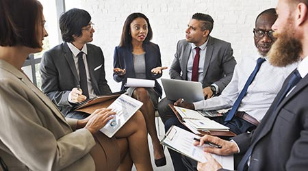 Business people discussing a marketing plan. Sales concpet