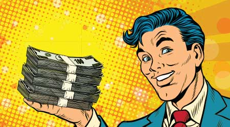 cartoon sketch of a blue haired man in a suit holding what looks like a lot of money