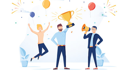 Vector image of business people celebrating