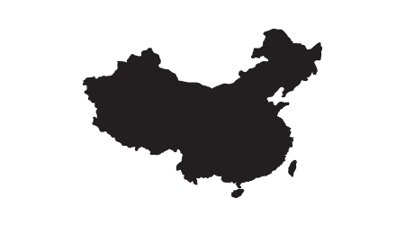 China map vector, isolated on white background. Black map template, flat earth. Simplified, generalized world map with round corners.