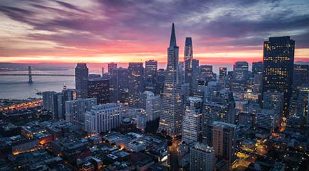 San Francisco skyline at sunrise