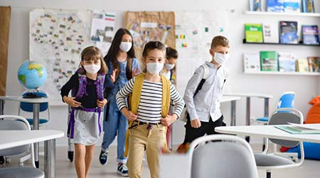 Group of children wearing face masks going back to school