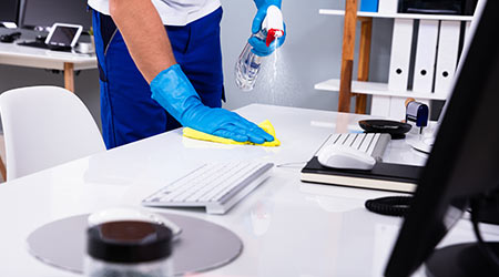 cleaning an office