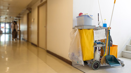 janitor cart in a hospital