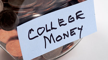 a jar of money intended for college