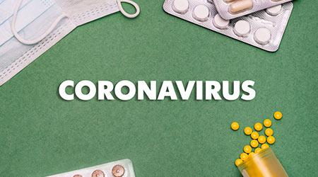 Text phrase Coronavirus on a green background with medicines and protective masks. Novel coronavirus 2019-nCoV, MERS-Cov middle East respiratory syndrome coronavirus