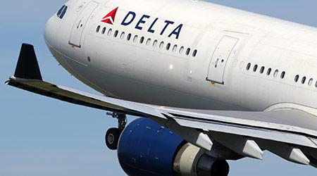 Delta Airlines plane in flight