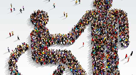Large and diverse group of people seen from above gathered together in the shape of disabled receiving help symbol, 3d illustration